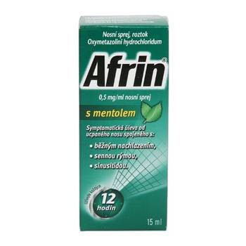 Afrin s mentolem 0,5 mg/ml nosní sprej 15 ml